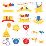 De Vieringsbanners van de verjaardagspartij, Vlakke Vectorillustratie Royalty-vrije Stock Afbeeldingen