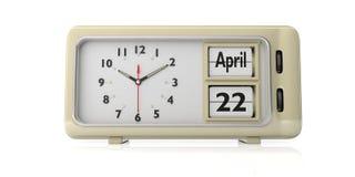 De vieringsdatum van de aardedag op oude retro wekker, witte achtergrond, geïsoleerde, 3d illustratie stock illustratie