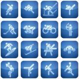 De Vierkante 2D Geplaatste Pictogrammen van het kobalt Royalty-vrije Stock Afbeeldingen