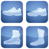 De Vierkante 2D Geplaatste Pictogrammen van het kobalt: De Schoenen van de sport Royalty-vrije Stock Foto