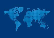 De vierkante Achtergrond van de Kaart van de Wereld van het Pixel. Stock Fotografie