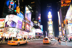 De Vierkante nacht van de Tijd van Manhattan van de Stad van New York Stock Foto