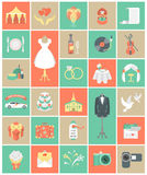 De Vierkante Reeks van huwelijkspictogrammen Stock Fotografie