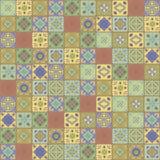 De vierkante vector Indische ornamenten die terracotta geelgroene turkooise keramische tegels tegenover elkaar stellen bloeit veg vector illustratie