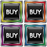 De vierkante vectorknoop met koopt pictogram Stock Fotografie