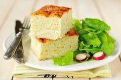 De vierkanten van Courgette en Rijst bakken met Groene Salade en Radijzen royalty-vrije stock foto's