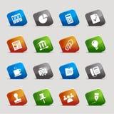 De vierkanten van de besnoeiing - de Bedrijfspictogrammen van het Bureau en Stock Foto