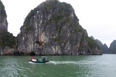 De Vietnamese familie die een kleine boot verkopend fruit in werking stellen aan toeristen op Ha snakt baai Vietnam Stock Foto's