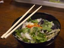 De Vietnamese soep van Pho BO met aromatische kruiden, rundvlees en noedels royalty-vrije stock afbeelding