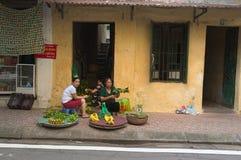 De Vietnamese vrouwen verkoopt lokale vruchten en groenten Royalty-vrije Stock Afbeelding