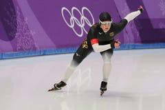 De vijf keer Olympische Kampioen Claudia Pechstein van Duitsland concurreert in de Dames` 5,000m Snelheid Schaatsend bij 2018 de  royalty-vrije stock afbeelding