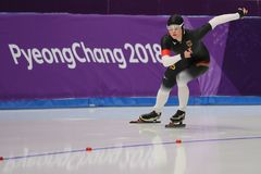 De vijf keer Olympische Kampioen Claudia Pechstein van Duitsland concurreert in de Dames` 5,000m Snelheid Schaatsend bij 2018 de  royalty-vrije stock foto