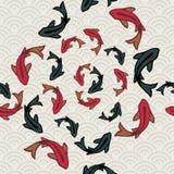 De vijver naadloos patroon van Koivissen van Aziatisch art. Royalty-vrije Stock Afbeeldingen