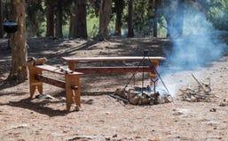 De Viking-halt in de jaarlijkse wederopbouw van het leven van de Vikingen - ` Viking Village ` in het bos dichtbij Ben Shemen in  Stock Foto's