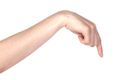 De vinger die van de vrouw of richt wat betreft Royalty-vrije Stock Foto's