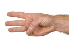 De vinger ondertekent drie Stock Afbeeldingen