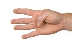 De vinger ondertekent vier Stock Foto's