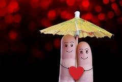 De vinger van valentijnskaarten Royalty-vrije Stock Foto's
