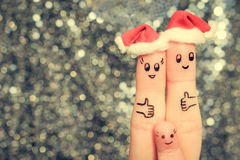 De vingerkunst van familie viert Kerstmis Stock Foto