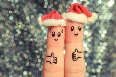 De vingerkunst van paar viert Kerstmis Royalty-vrije Stock Foto