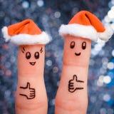 De vingerkunst van paar viert Kerstmis Royalty-vrije Stock Foto's