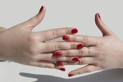 De vingernagellak van de modieuze make-upvrouw, die de mobiele computer in werking stellen Stock Afbeelding
