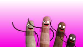 De vingers van een hand met censuur op privé delen, van diverse etnische groepen met lachebekjes en wapens begroeten ons, ideaal vector illustratie