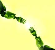 De vingers van robots wat betreft Royalty-vrije Stock Afbeelding