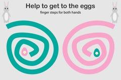 De vingerstappen voor zowel hand, helpen het konijntje om aan de eieren, gelijktijdige ontwikkeling van de juiste als linkerhemis royalty-vrije illustratie