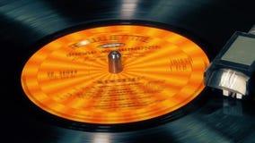 De vinylplatenspeler van de draaischijfnaald, het spinnen stock footage