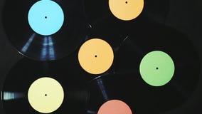 De vinylverslagen roteert stock videobeelden
