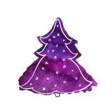 De violette boom van waterverfkerstmis Vector illustratie die op witte achtergrond wordt geïsoleerdd Stock Fotografie