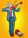 De violist van de straatmusicus Stock Afbeelding