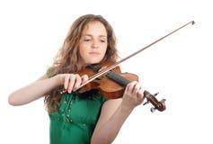 De viool van het de vrouwenspel van de roodharige royalty-vrije stock afbeelding