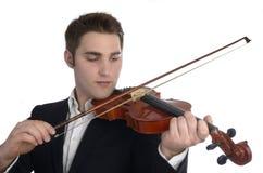 De viool van musicusspelen Stock Foto's