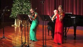 De Vioolmuziek van het Kerstmisseizoen stock footage