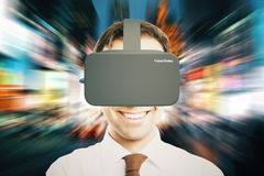 De virtuele abstracte stad van de werkelijkheidshelm Royalty-vrije Stock Afbeeldingen