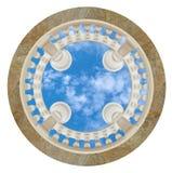 De virtuele fresko van het hemelplafond om balustrade het 3D teruggeven stock illustratie