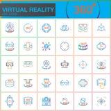 De virtuele geplaatste Pictogrammen van de Werkelijkheidslijn Innovatietechnologieën, de glazen van AR, hoofd-Opgezette vertoning Royalty-vrije Stock Foto