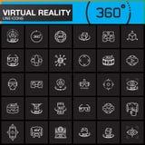 De virtuele geplaatste Pictogrammen van de Werkelijkheidslijn Innovatietechnologieën, de glazen van AR, hoofd-Opgezette vertoning Stock Foto