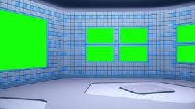 De virtuele het uitzenden studio met groen het schermgebied De camerabeweging is inbegrepen stock footage