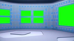 De virtuele het uitzenden studio met groen het schermgebied De camerabeweging is inbegrepen stock videobeelden