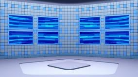 De virtuele het uitzenden studio met het van een lus voorzien het abstracte gebied van het lengte video en groene scherm stock footage