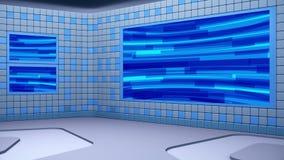 De virtuele het uitzenden studio met het van een lus voorzien het abstracte gebied van het lengte video en groene scherm stock videobeelden