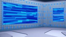 De virtuele het uitzenden studio met het van een lus voorzien het abstracte gebied van het lengte video en groene scherm De camer stock footage