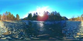 360 de virtuele werkelijkheid van VR van wilde bergen, pijnboombos en rivierstromen Nationale park, weide en zonstralen stock video