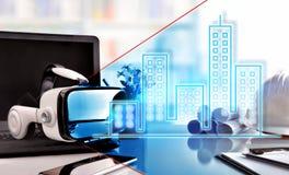 De virtuele werkelijkheidsglazen op architectenbureau dienen voorzijde in represen Stock Foto