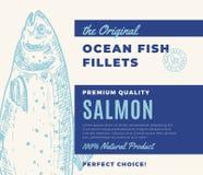 De Visfilets van de premiekwaliteit Abstract Vectorvissen Verpakkingsontwerp of Etiket Moderne Typografie en Hand Getrokken Zalm Royalty-vrije Illustratie