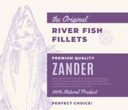 De Visfilets van de premiekwaliteit Abstract Vectorvissen Verpakkingsontwerp of Etiket Moderne Typografie en Hand Getrokken Zande Vector Illustratie