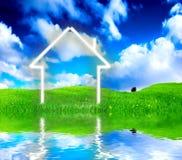 De visie van de nieuw huisverbeelding op groene weide. Stock Foto's